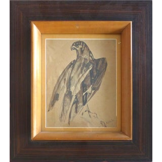 Raymond Bigot French Eagle Watercolor Painting