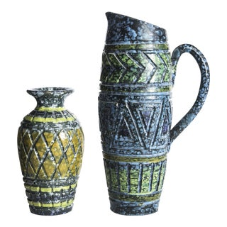 Blue & Yellow Incised Pottery Vases - a Pair