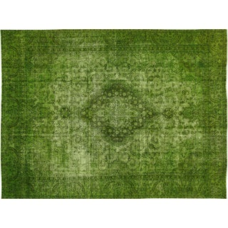 Green Overdyed Tabriz Floral Area Rug - 9' x 11'7""