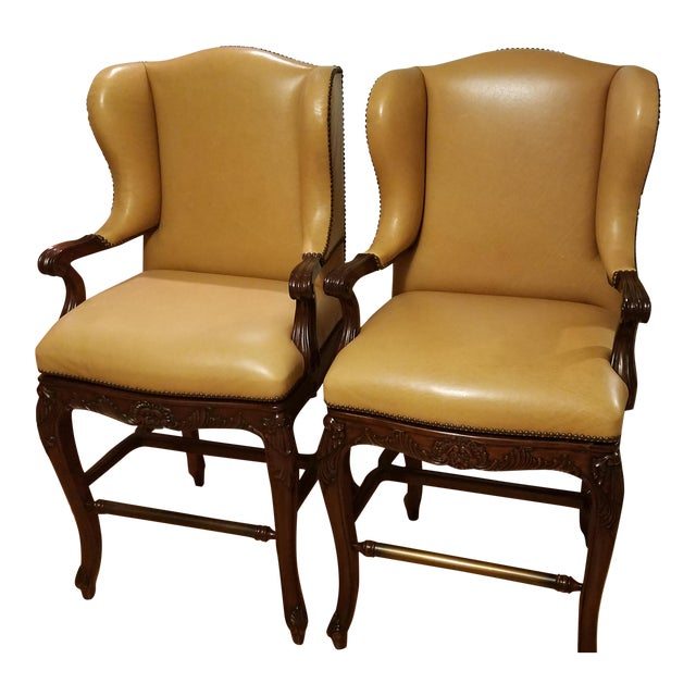 Image of Frontgate Mustard Bar Stools - A Pair