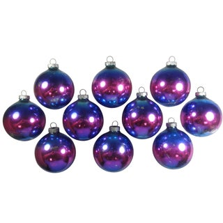 Blue & Purple Ombre Ornaments - Set of 10
