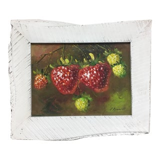 C. Ronnett Strawberry Still Life Oil Painting