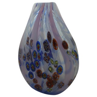 Murano Glass Vase With Milleforia Latticino Cane
