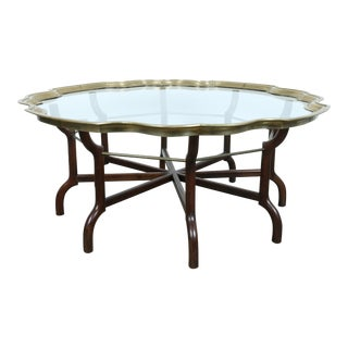 Hollywood Regency Brass Accents Coffee Table