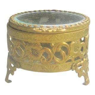 Vintage Mid Century Gilt Glass Jewelry Trinket Box