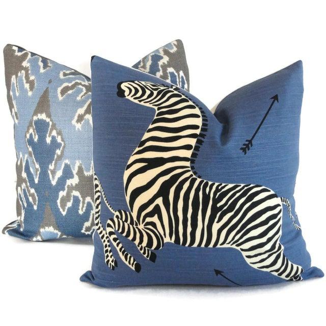 "20"" x 20"" Blue Scalamandre Zebra Decorative Pillow Cover - Image 5 of 5"