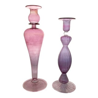 Blown Venetian Murano Glass Pink & Purple Candlesticks Toso Style - a Pair