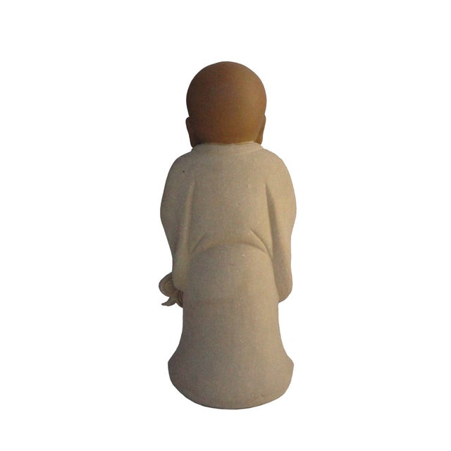 Image of Chinese Ceramic Monk Buddha Lo Han Figurine