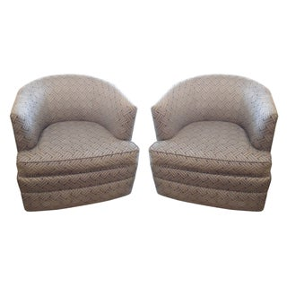 Dark Gray Patterned Barrel Chairs - A Pair