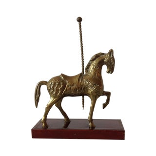 Brass Carousel Horse Accent Bookend