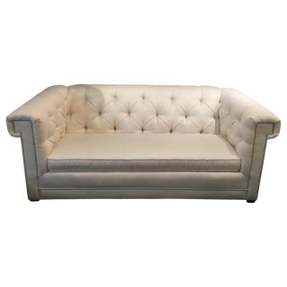 CR Laine Chesterfield Sofa White Sunbrella Fabric