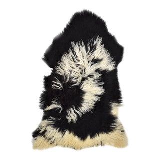 "Handmade Black & White Genuine Sheepskin Throw / Rug - 2'9"" X 4'2"""