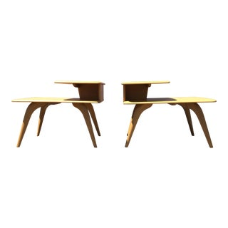 Heywood Wakefield Wheat Finished End Tables- A Pair