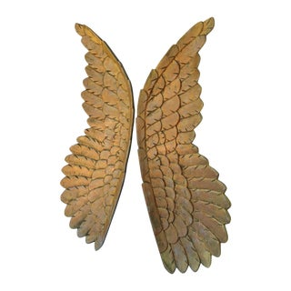 Large Gold Carved Wood Wings - Pair