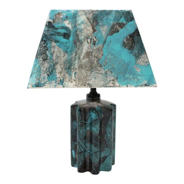 Image of Transitional Turquoise Hand Painted Marble Lamp