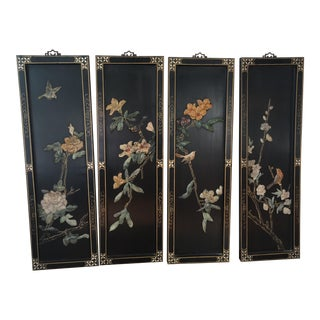 Asian Wood Carved Panels - Set of 4