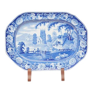 Large English Blue & White Platter