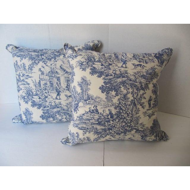 Blue & White Toile De Jouy Pillows - A Pair - Image 3 of 9