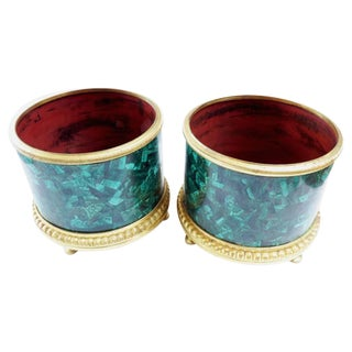 Pair of Empire Style Gilt Bronze Malachite Veneered Jardiniere Planters