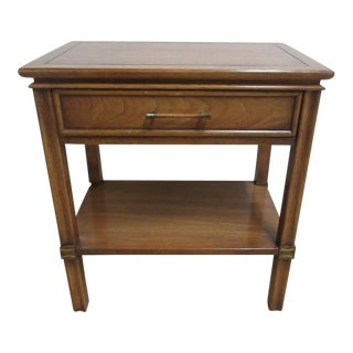 Vintage James Mont Style Lamp End Table One Drawer Brass Inlaid Night Stand