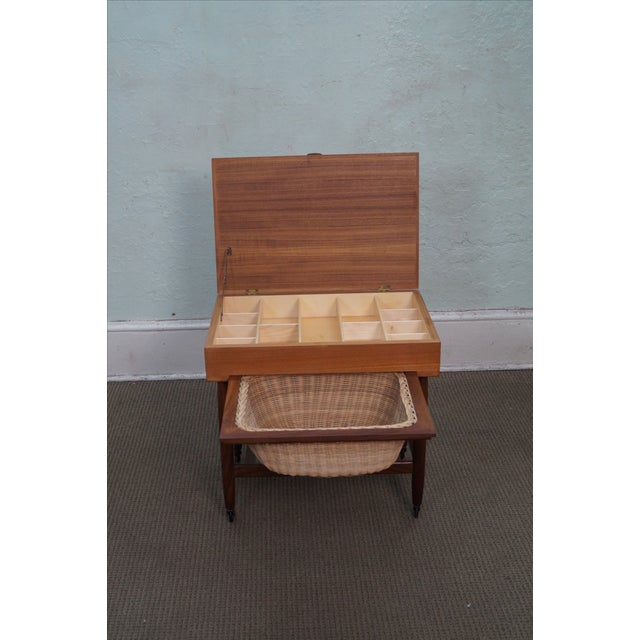 Vitre Vintage Danish Modern Teak Sewing Cart - Image 6 of 10