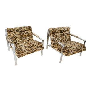 Cy Mann Lounge Chairs in the Style of Milo Baughman, Set of Two