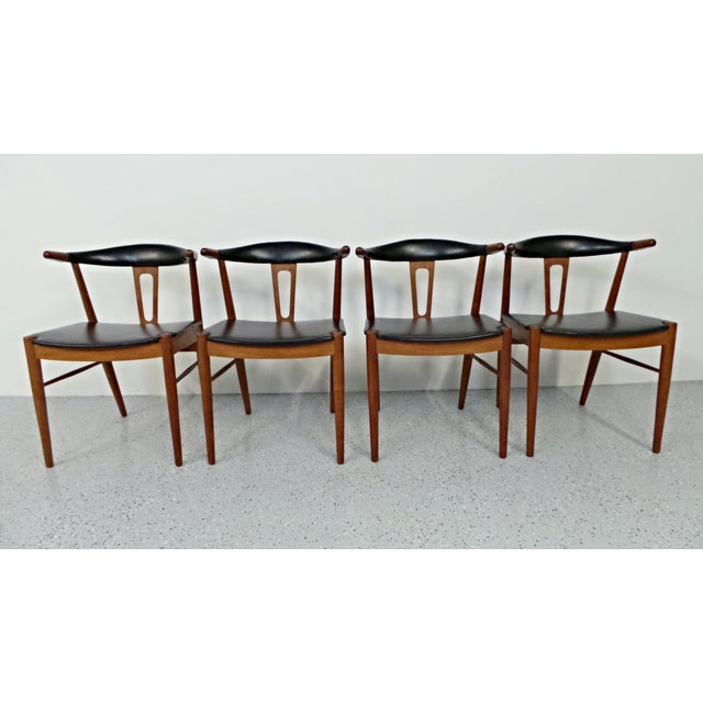 Hans Wegner Style Teak Leather Dining Chairs - 4 - Image 4 of 10