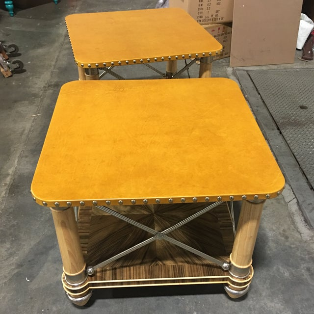 Ferguson-Copeland Leather Top Side Tables - A Pair - Image 3 of 6