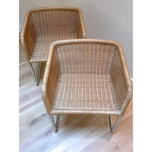 Harvey Probber Wicker Cantilever Chairs A Pair Chairish