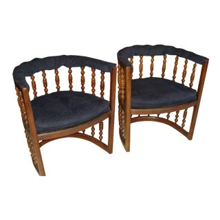 Vintage Mid-Century Barrel Chairs - Pair