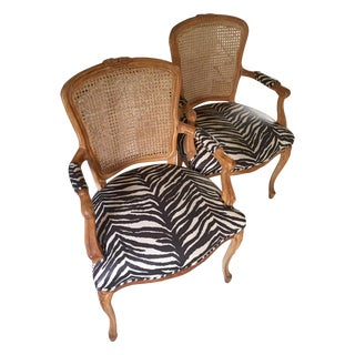 Wood and Zebra Upholstered Chairs - A Pair