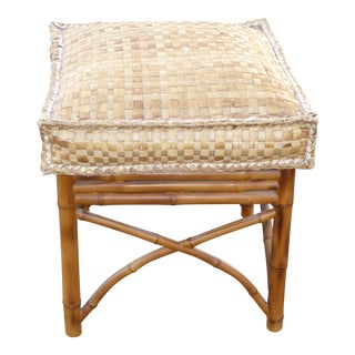 Vintage Tiki Palm Beach Bamboo Style Rattan Cushion Stool