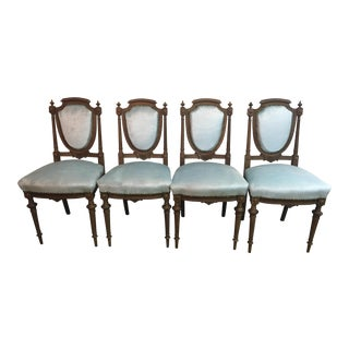 Carved French Neoclassical Revival Chairs - Set of 4