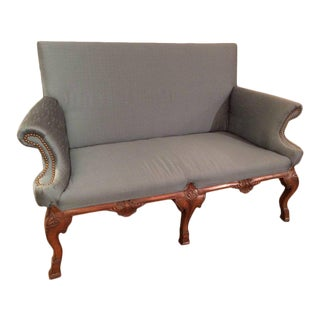Elegant Carved Walnut and Silk Antique Loveseat Settee