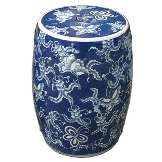 Blue And White Round Porcelain Butterflies Stool