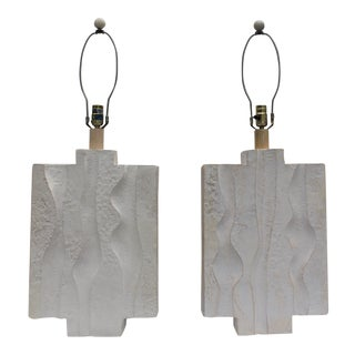 Sculptural Plaster And Lucite Base Table Lamps - A Pair