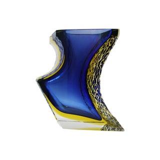 Italian Mandruzzato Murano Blue & Yellow Glass Sommerso Vase Mid-Century Modern MCM Campanella