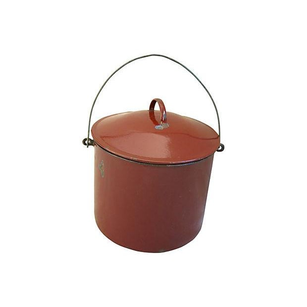 Image of Vintage 1920s French Enameled Pail & Lid