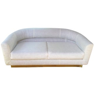 1970s Brass Base & Linen Loveseat