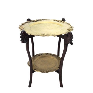 Chinese Two Tier Folding Wood & Brass Tray Top Side Table