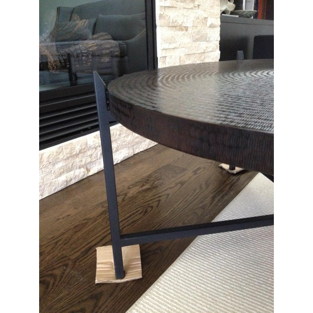 Modern Crate & Barrel Copper & Metal Coffee Table - Image 5 of 10