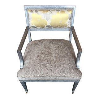 Transitional Accent Chair in Custom Finish & Upholstered