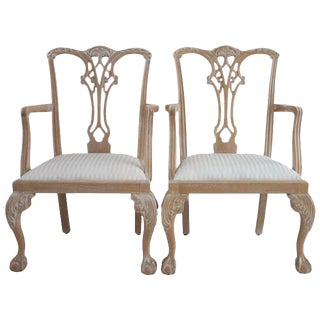 Chippendale Whitewash Armchairs - a Pair