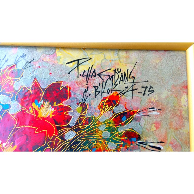 Image of Vintage Abstract Floral Acrylic on Foil Painting