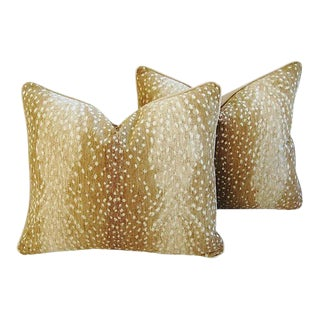 Custom-Tailored Antelope Fawn Spot Velvet Feather/Down Pillows - a Pair