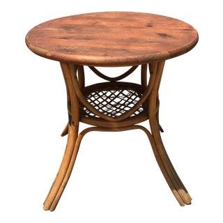 Mid-Century Round Rattan Table