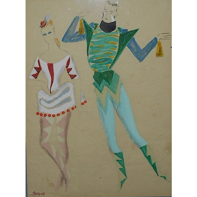Framed Deco Costume Designs, Gouache and Ink - Image 3 of 4