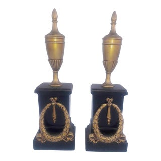 Antique French Neoclassical Cassolettes Napoleon III Gold Acanthus Plinths Mantle Urns Bookends - a Pair