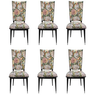 French Art Deco Floral Dining Chairs - Set of 6