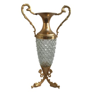 Crystal & Golden Footed Vase